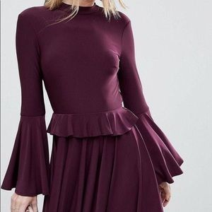 Skinny Ruffle Open Back Mini Skater Dress
